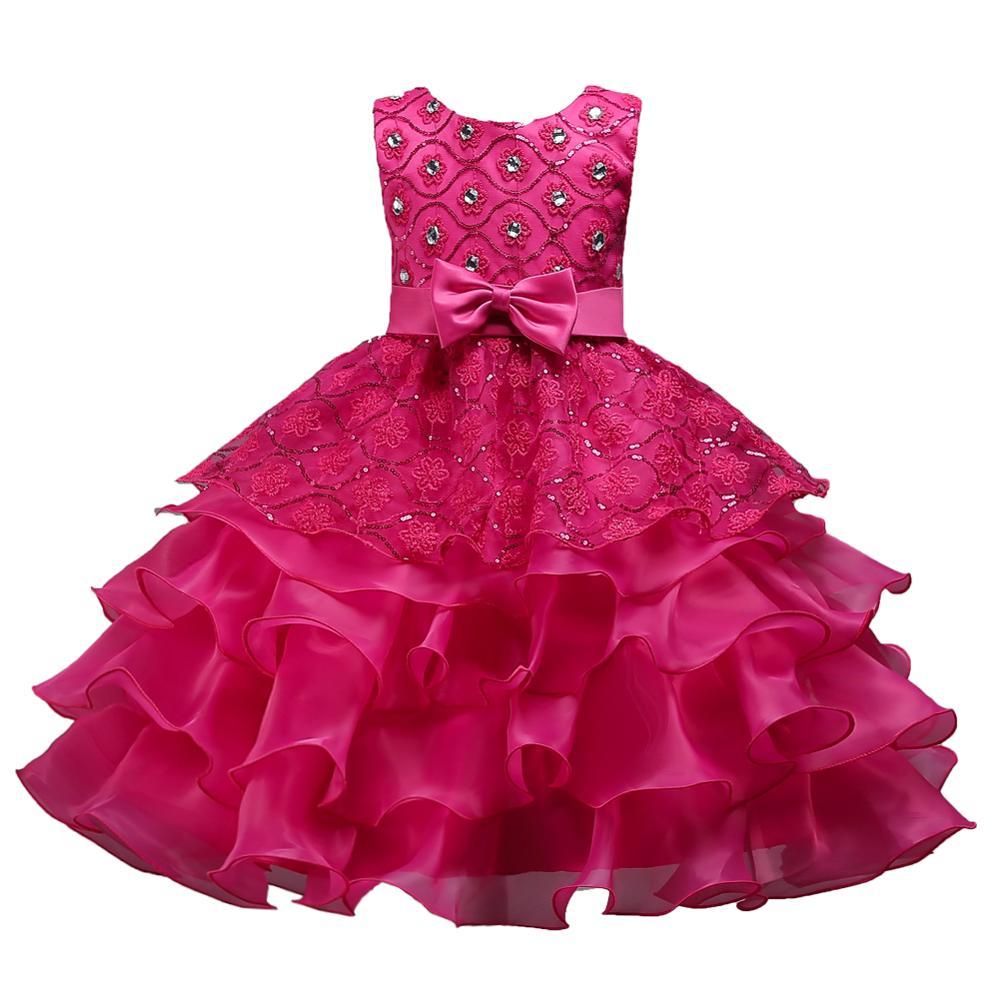 c2016bb93b5184 Europese stijl kid japon voor party Multi gelaagde meisje verjaardag jurk  Afstuderen ceremonies kleding voor 12