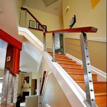 Stainless Steel Wood Cable Railing Design