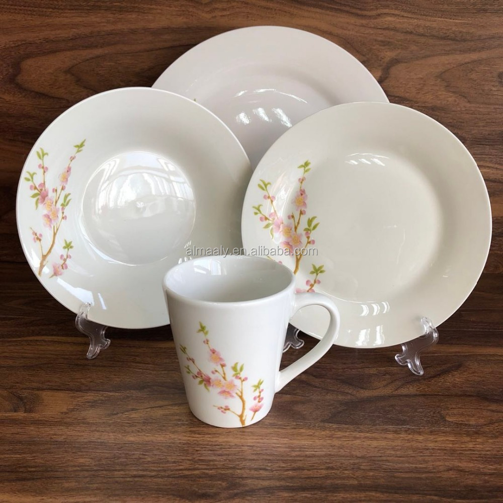 16 Piece Camping Caravan Picnic Plates Cups Bowls Porcelain Dinner Set Homeware