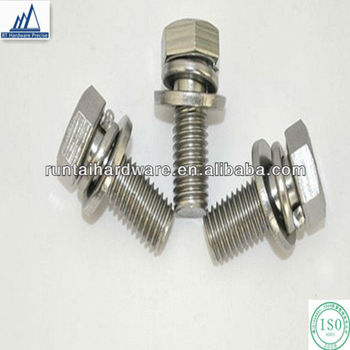 M6 25 Stainless Steel Sems Bolt Hex Bolt Flat Washer Spring Washer ...