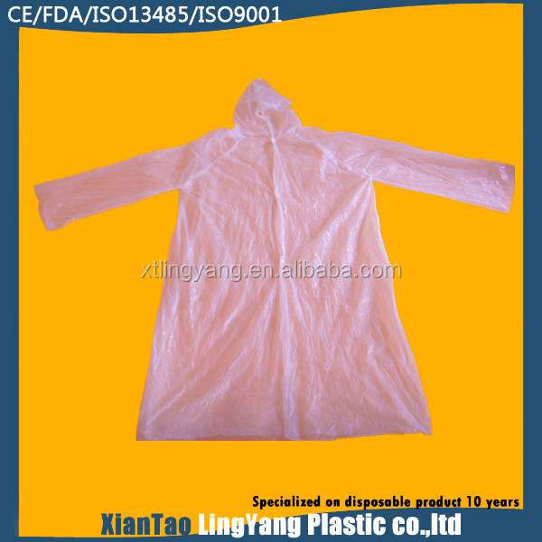 Cheap Plastic disposable rain jacket in white color