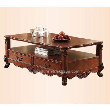 antique hand carved hard wood living room coffee table - Antique Wood Coffee Tables