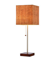 Simple Contemporary Polished Chrome Single Metal Pipe Table Lamp With Wood Base