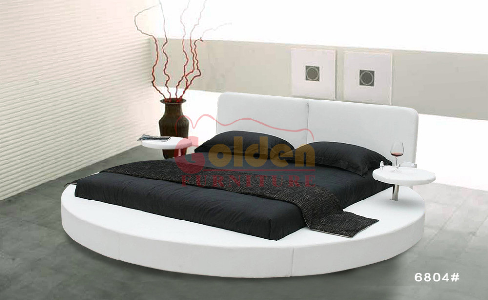Hot sale luxury full leather queen size round bed on sale