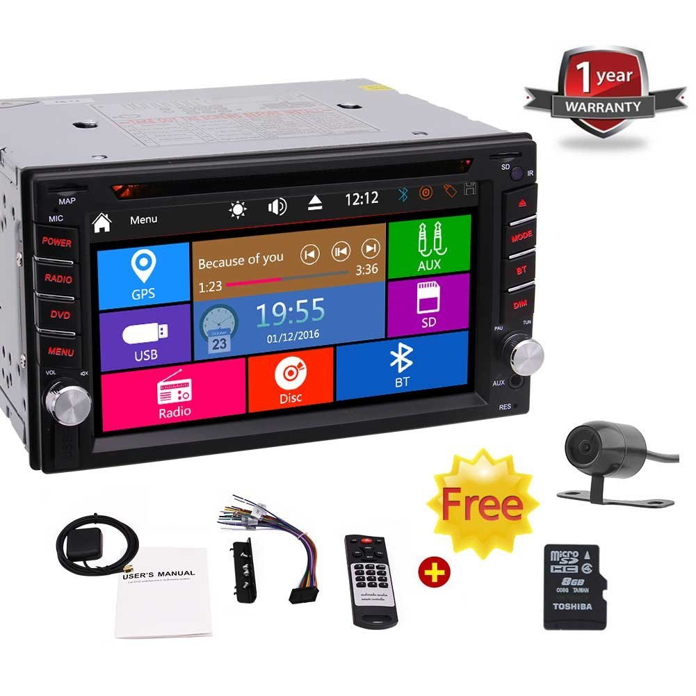Hot Sale!! 6.2-inch Double DIN In Dash Car Dvd Player Car Stereo Head Unit Touch Screen with Bluetooth USB Sd Mp3 AM/FM Radio Receiver for Universal Car + Free Backup Camera & Remote Control