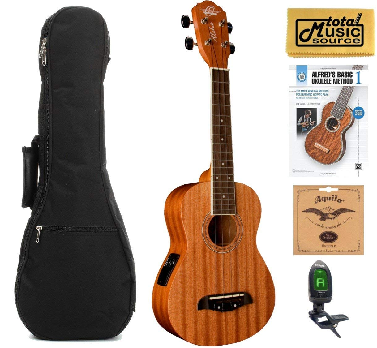 Oscar Schmidt Concert Active EQ, Acoustic Electric Ukulele, OU2E w/Padded Gigbag,Tuner,Strings,Book & PC
