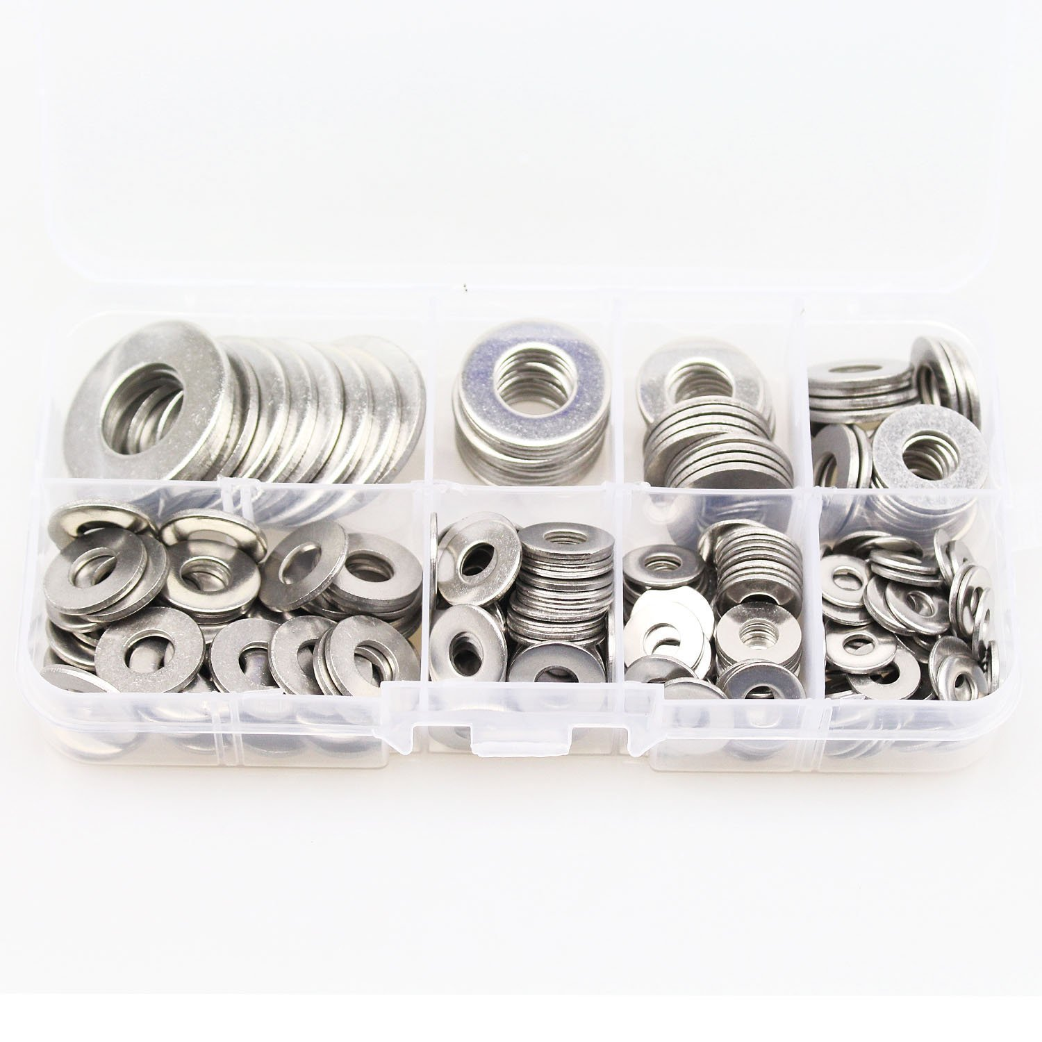 HIFROM 260pcs Flat Washers 8 Sizes 304 Stainless Steel Metric Flat Washers Assortment Set for Bolt Screw (1/2, 3/8, 5/16, 1/4, #12, #10, #8, #6)