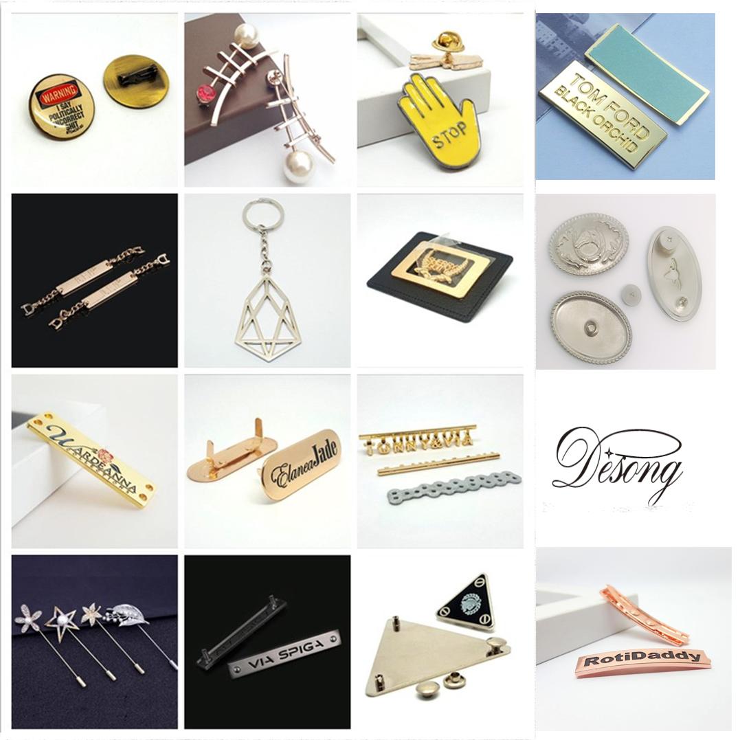 Prendas de vestir de etiqueta de la ropa, bolso de Malasia de muestra gratis Oem y Odm de metal personalizado bolsa de logotipos para ropa de etiqueta