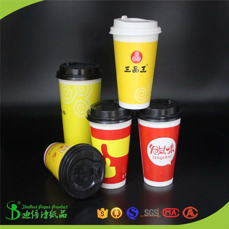 Single or double PE Coated 100% virgin wood pulp paper coffee cup made by China factory