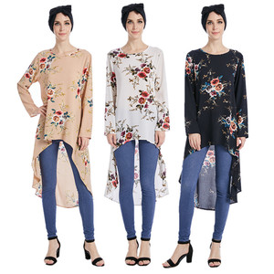 2017 New arrival Moroccan Tunics,Women Flower printed muslim Blouse,Singapore fashion Islamic Blouse