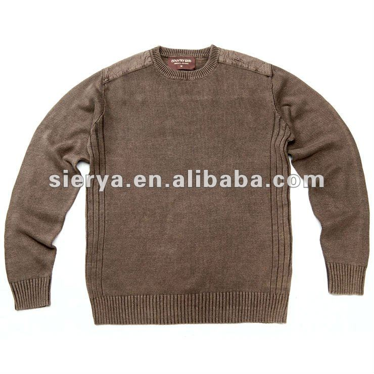 men's cotton enzyme stone washing old looking sweater