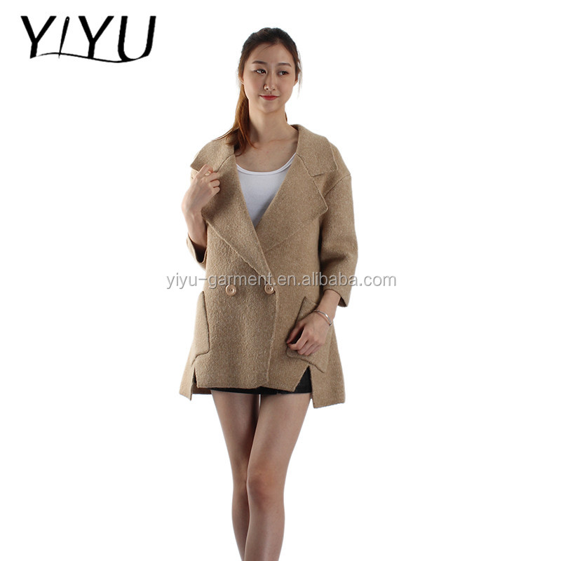 latest design women sweater winter fall double button turnover collar knitted cardigan