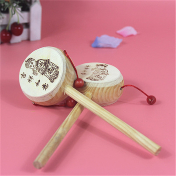 Wooden baby rang drum chinese traditional pattern toy