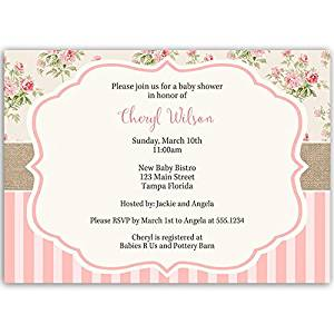 Baby Shower Invitations, Girl, Floral, Pink, Sprinkle, Vintage, Shabby, Chic, 10 Custom Printed Invites with White Envelopes, FREE Shipping