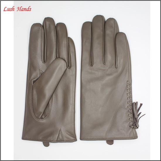 Grey sheep leather touch screen women leather gloves tasseled gloves fashion elements