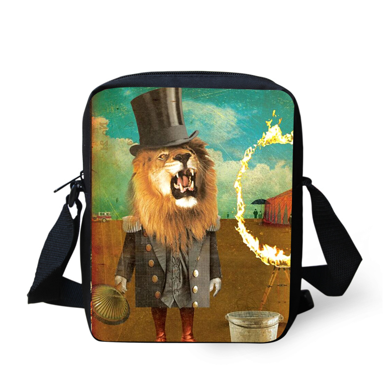 641c92ee89a4 Get Quotations · 3D Animals Men Messenger bags Casual Dog Lion Crossbody Bag  Boy And Girls Messenger-bag