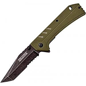"""Master Cutlery TF-851GN Tac-Force 4.5"""" Folder, Stone Washed Stainless Steel Blade, Army Green G10 Handle with Pocket Clip"""