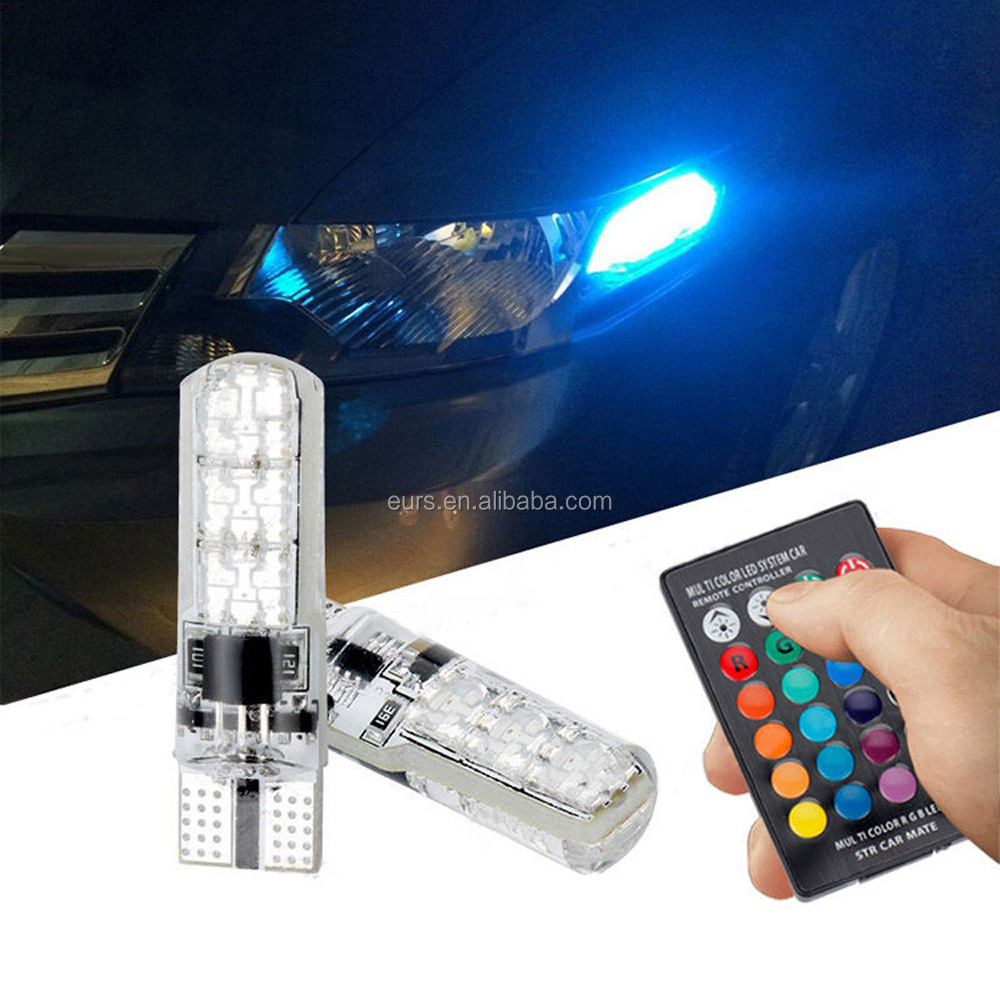 T10 5050 6SMD 1.32W 12V car led colorful RGB small light license plate explosion flash silicone wide light led