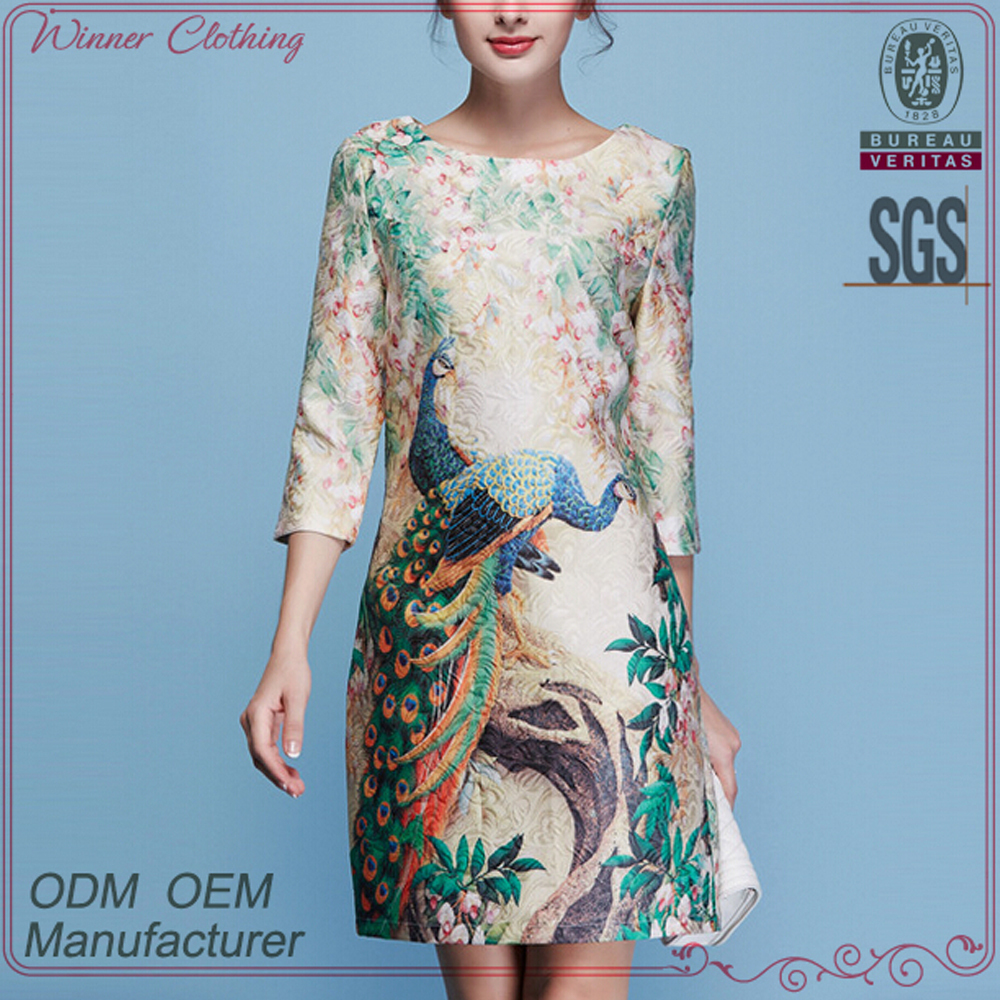 Customize garment new arrivals factory above knee phoenix jacquard chinese style vintage retro dress with 3/4 sleeve