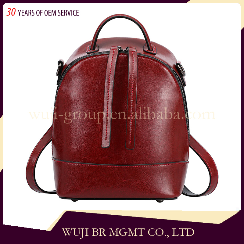 Gold Supplier China 0822 Top Grain Leather Unique Women Zipper Backpack