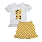 Maxine new design boutique outfits kids clothes wholesale tiger applique shirt and gingham shorts girls clothing sets