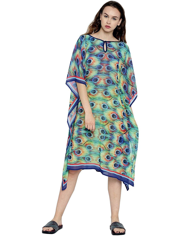 06ff95ab5d Get Quotations · The Kaftan Company Multicoloured Printed Sheer Kaftan Cover -Up Dress
