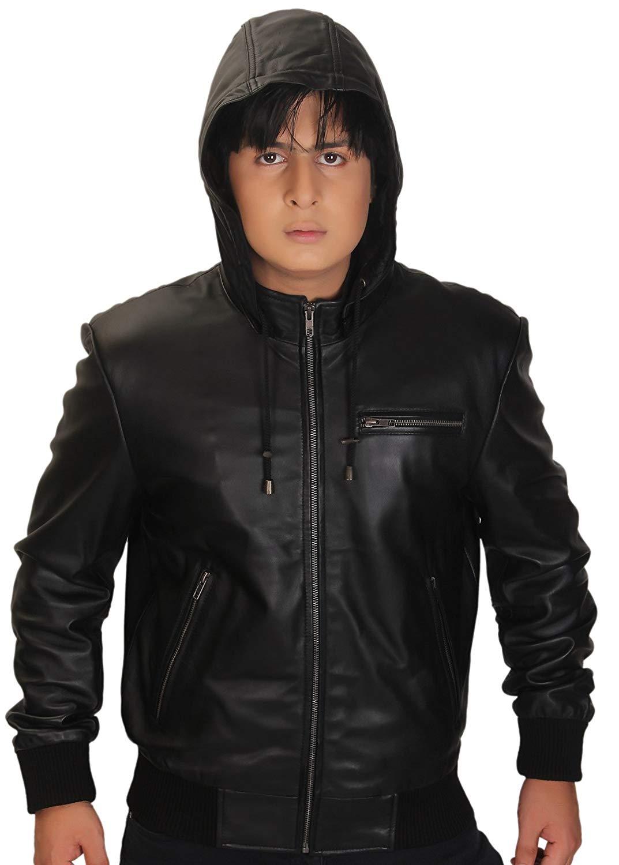 smith-rhyner Mens Genuine Leather Biker Western Style Front Zipper Outwear White Jacket
