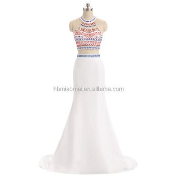 2017 Amazon Hot Sell Evening Dress Elegant White Color Heavy Beaded 2pcs Set Bridesmaid Patterns