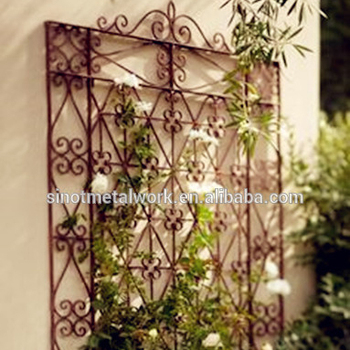 Decorated Wrought Iron Trellis Support For Flower Rose And Vine Wall Mounted Metal Plant