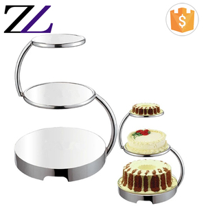 Banquet event decorating materials decorative metal 3-tier silver plated wedding cake stand/ metal stand for wedding cake