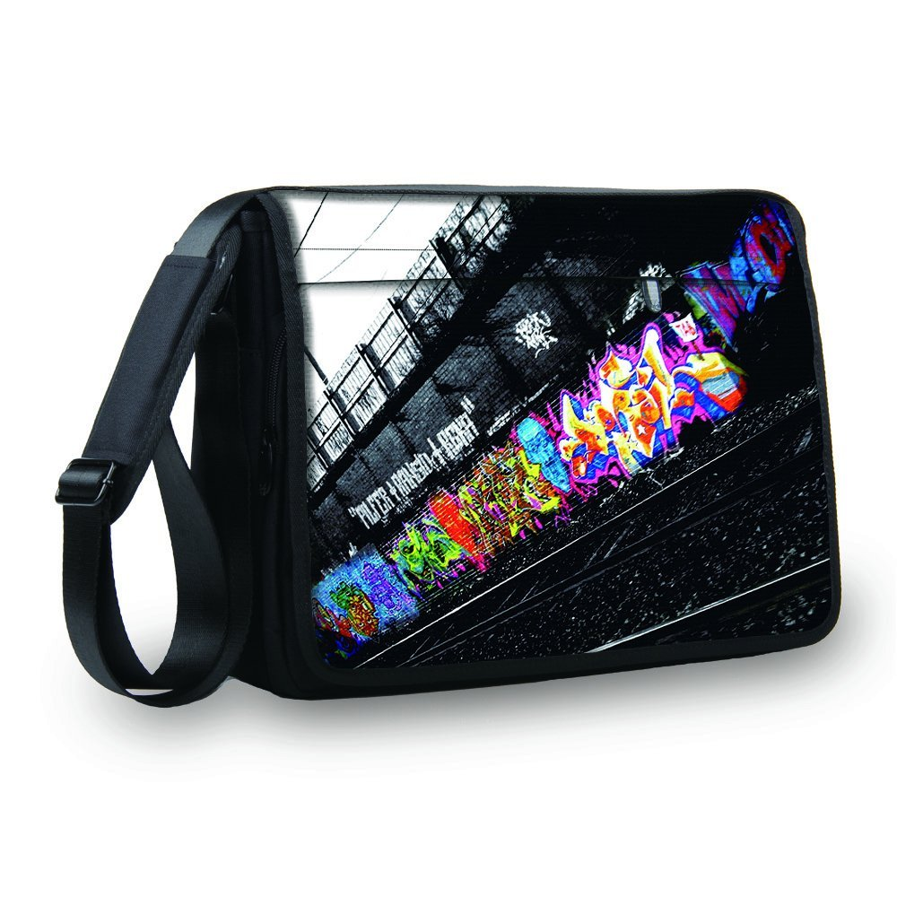 "MySleeveDesign Laptop Messenger Bag Notebook Shoulder Bag 17"" / 17.3"" - Carry Bag With Shoulder Strap - 13.3 Inch / 14 Inch / 15.6 Inch / 17.3 Inch - SEVERAL DESIGNS - Graffiti - 17 inch"