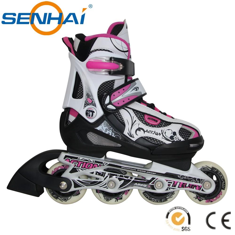 Roller skates in shoes - 2015 Senhai Sport Shoes Roller Skates For Kids Inline Roller Skates Shoes For Children Flashing Roller