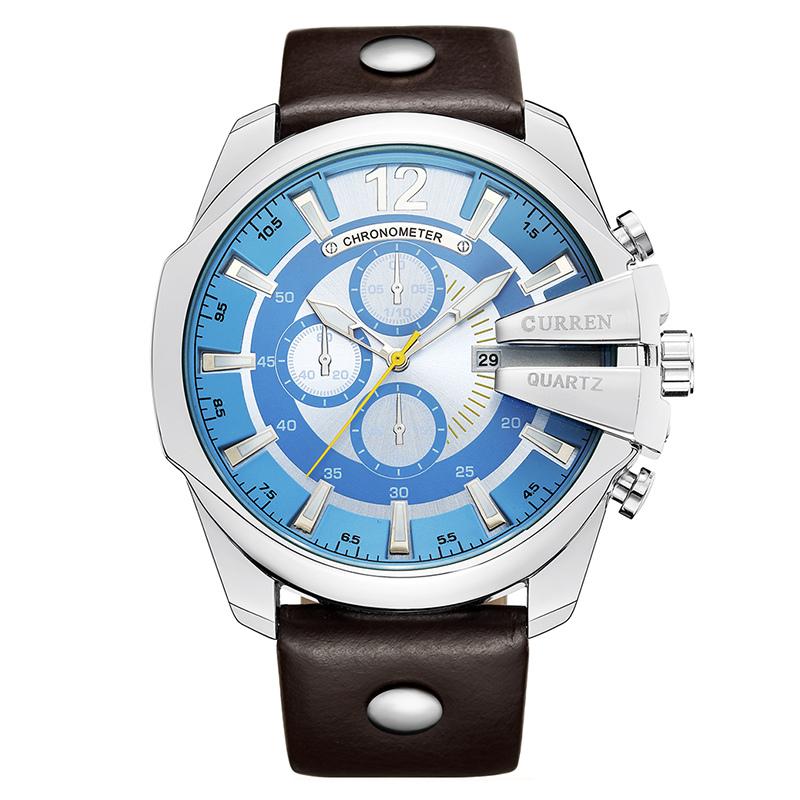 e03027a90a6 Original Curren 8176 Marca De Luxo Mens Relógio Pulseira de Couro Genuíno  Do Vintage Relógio Calendário