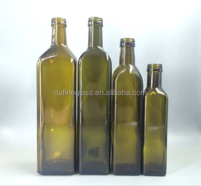 250ml /500ml/750ml/1000ml antique green marasca oil glass bottles olive oil bottle