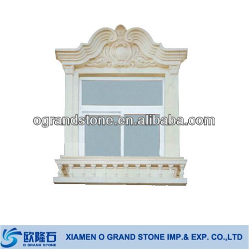 Custom Design Carved Stone Marble Exterior Window Frame