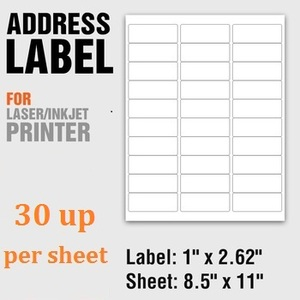 Self Adhesive 30 UP Blank Mailing Address Laser Labels For USPS Shipping