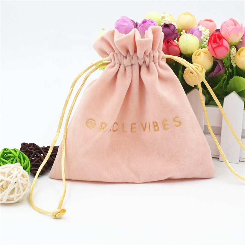 Promotional custom logo printed pink mini Velvet drawstring Pouch Bag with Satin Lining