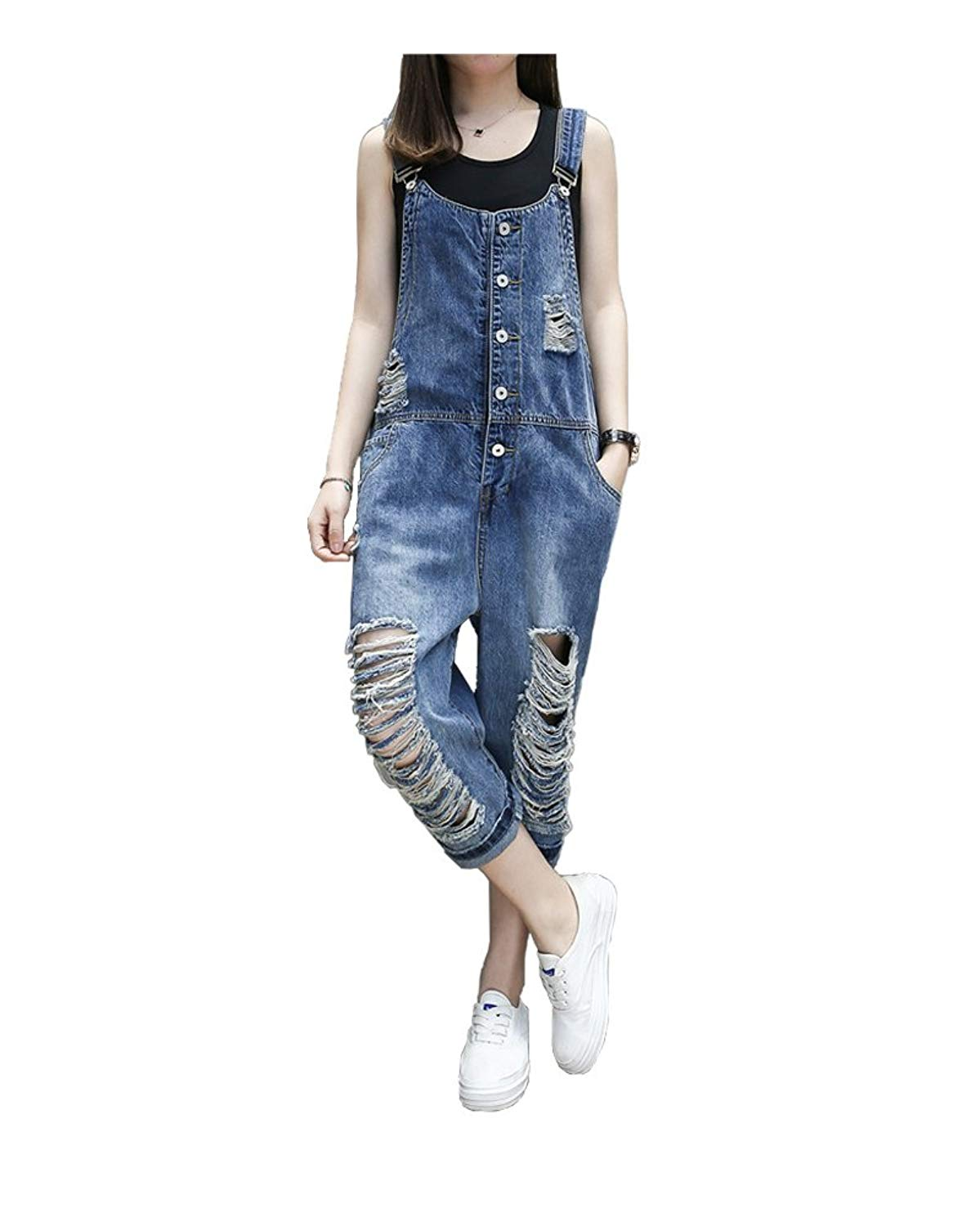 92397587a99 Get Quotations · yiboolai Overalls for Women Baggy Denim Overalls Jumpsuit  Sleeveless Romper Harem Jeans Pants