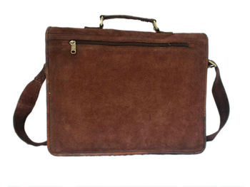 Handmade Genuine Leather Brown Suede Laptop Bag And Suede Satchel ...