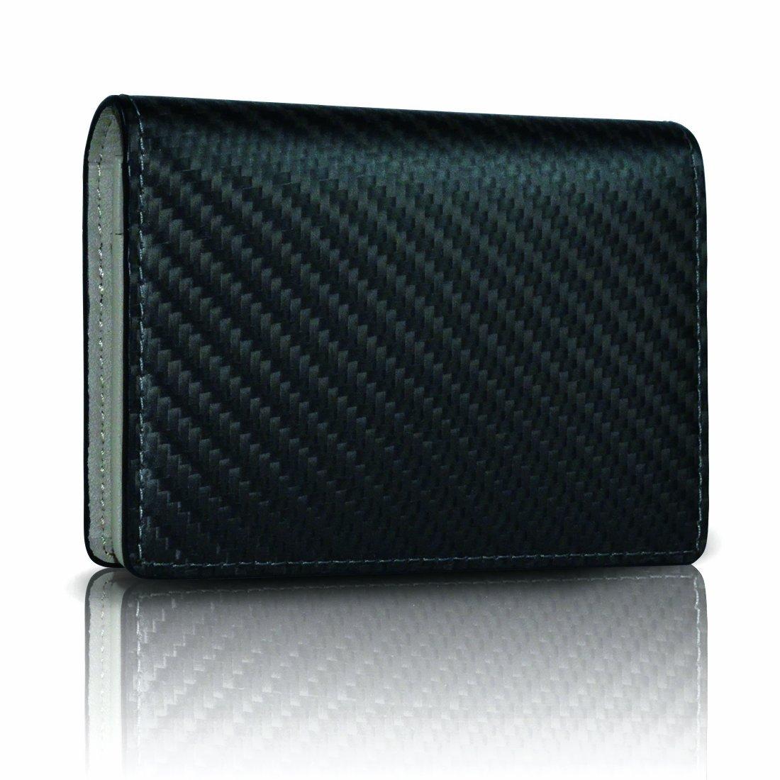 monCarbone Passport Holder Cover Carbon Fiber Leather Travel Wallet for Men /& Women