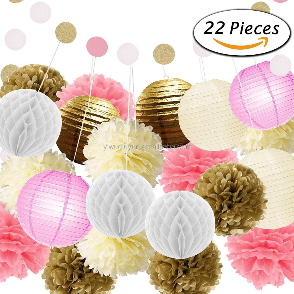 22 Pcs Pink Gold Tissue Pom Poms Paper Flowers Tissue Lanterns Polka Dot Garland for 1st Birthday Baby Shower Decorations