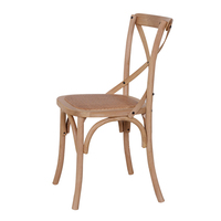 HANM Vintage Dining Room Rattan Seat Oak Solid Wooden Stackable Wedding X Cross Back Dining Chair