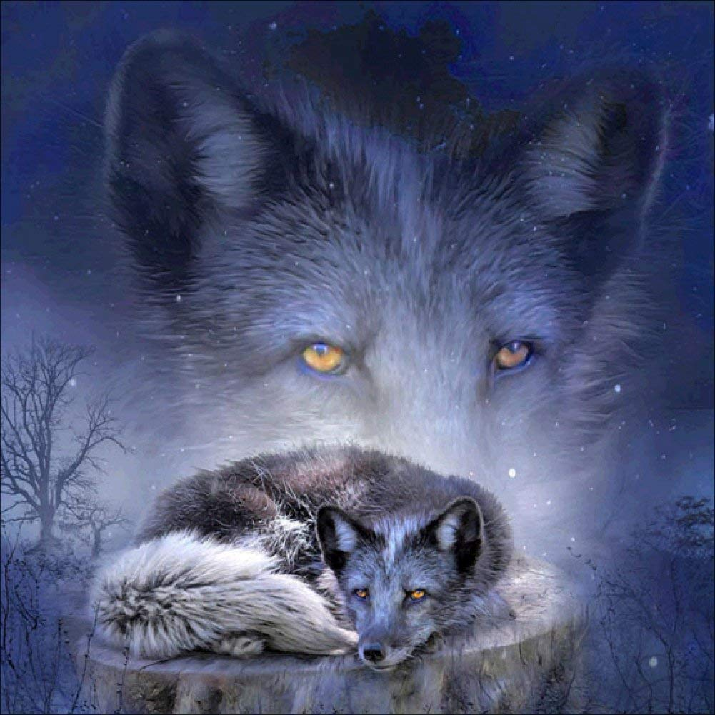 Fairylove 30×40 Diamond Painting Full Diamond Bead Painting Painting with Diamonds Dotz Kit Cross Stitch Arts Craft, Night Wolf