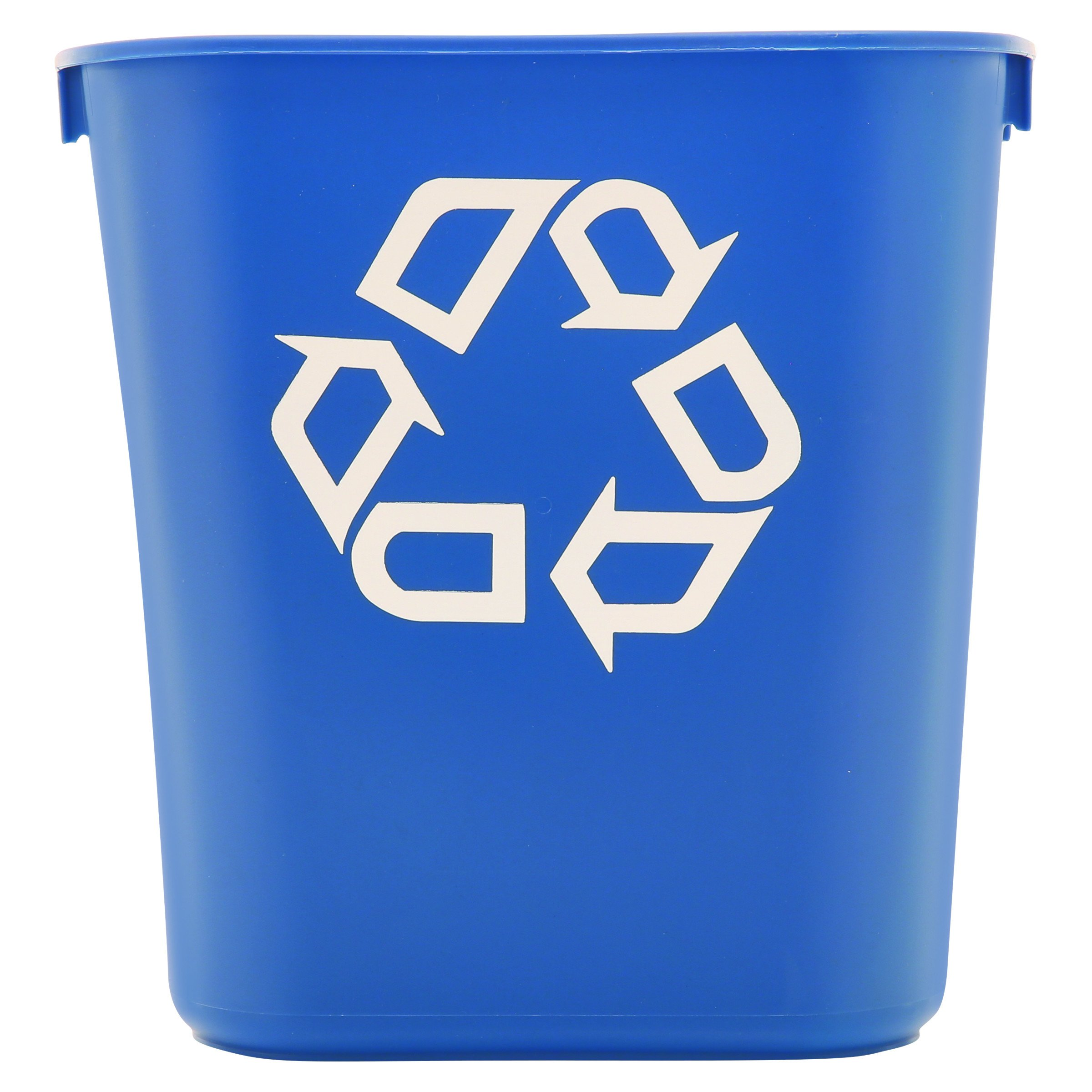 "Rubbermaid 2955-73 BLU 13-5/8 qt Capacity, 11.4"" Length x 8-1/4"" Width x 12-1/8"" Height, Blue Color, Small Deskside Recycling Container with Universal Recycle Symbol"
