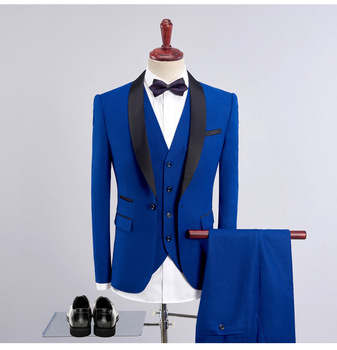 Good Quality Wholesale 8 Colors Men Slim Fit Blue Wedding Suit (Blazer+Pants+Vest) 3 Pieces Men Suit