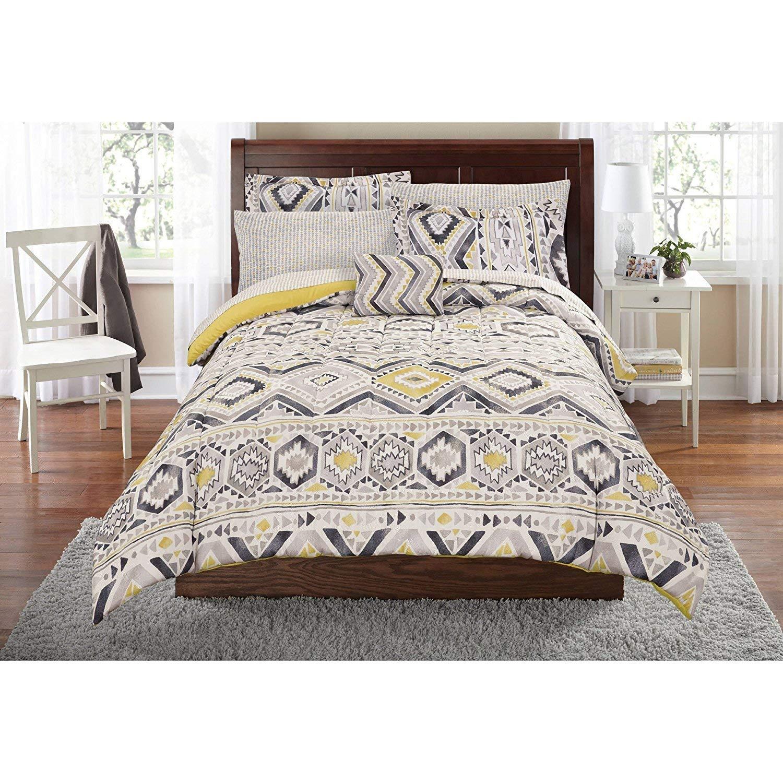 DOS 8pc Grey Yellow Southwest Comforter Queen Set, Aztec Gray Native Tribal Bedding Geometric Chevron Zig Zag Stripes Honeycomb Pattern Southwestern Colors Indian Motif, Polyester