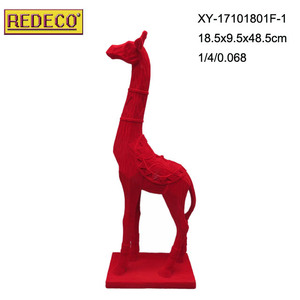 Whole sale polyresin giraffe with flocking