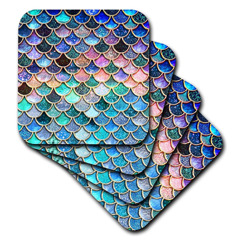 3dRose Uta Naumann Faux Glitter Pattern - Multicolor Trend Pink Luxury Elegant Mermaid Scales Glitter - set of 8 Coasters - Soft (cst_272860_2)