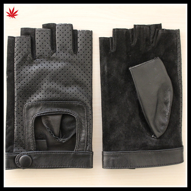 ladies sexy cheap driving fingerless leather glove