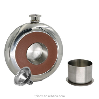 Mirror Polished Pu Leather Hip Flask 5 OZ Fine Round Stainless Steel with a Small classic Funnel Grade 304